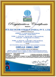 OHSAS certificate-18001-2007 for occupational health safety Management system