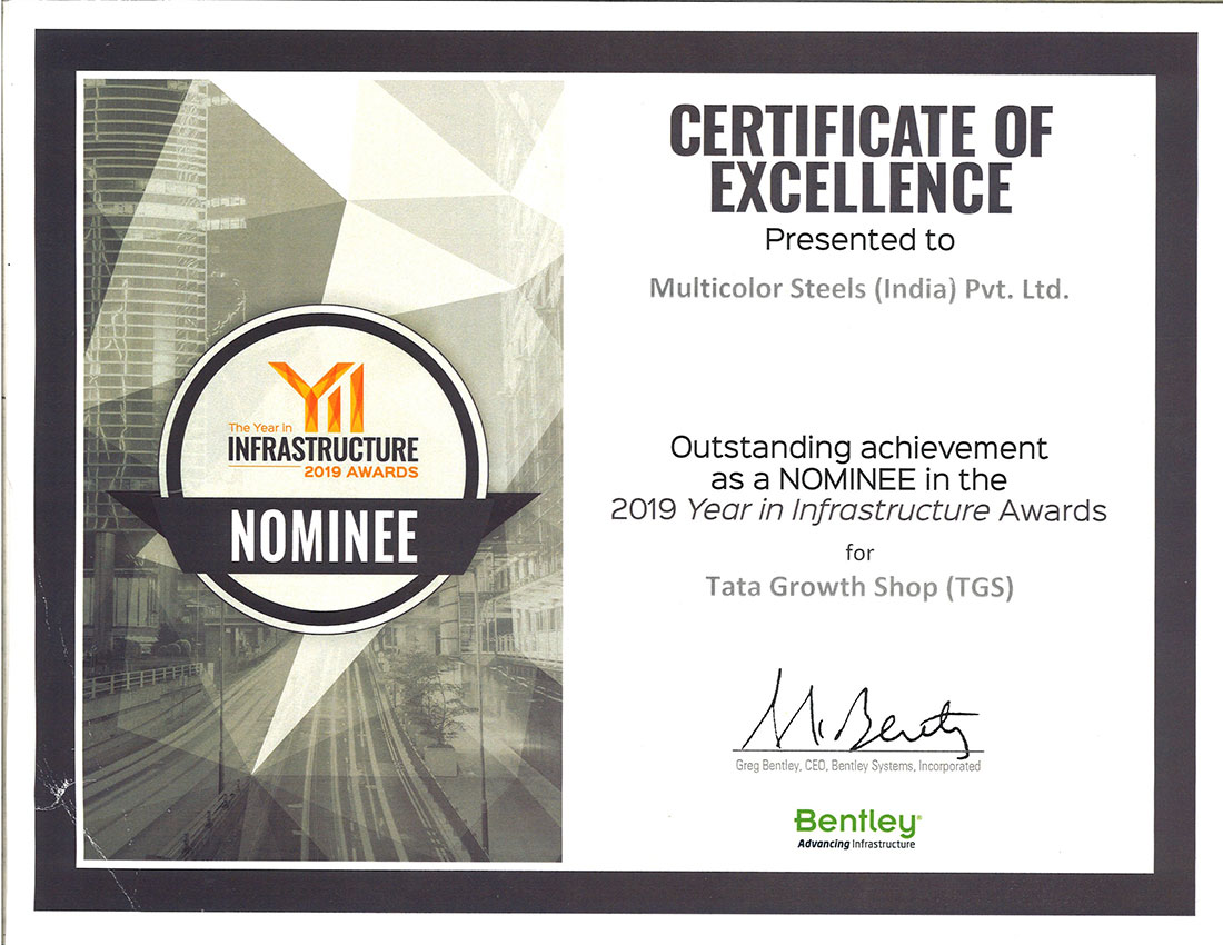 Outstanding Achievement as a Nominee in the year 2019 in Infrastructure Awards for Tata growth Shop (TGS)